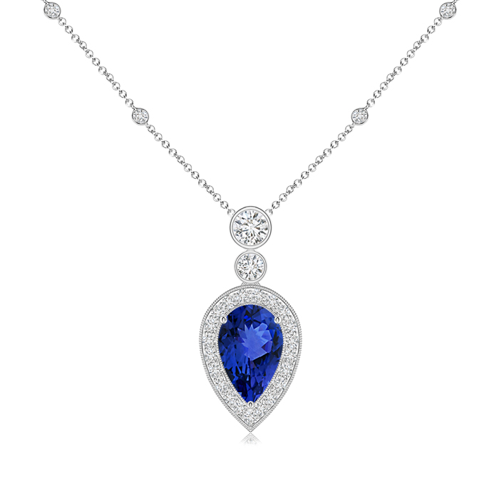 December Birthstone Pendant Necklaces Pear Shaped Tanzanite Necklace Pendant with Diamond Halo in 950 Platinum (8x5mm... by Angara.com