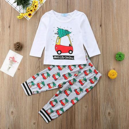 Christmas Kids Baby Girl Boy Xmas Car Long Sleeve Tops Pants Outfits Clothes ()