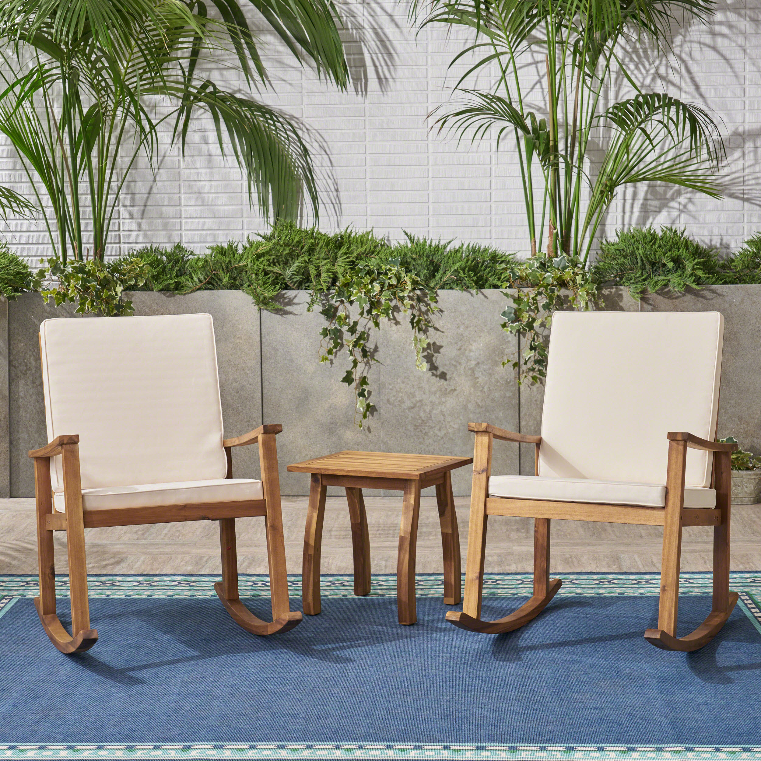 Laney Outdoor 3 Piece Acacia Wood Rocking Conversation Set with Cushions, Teak, Cream