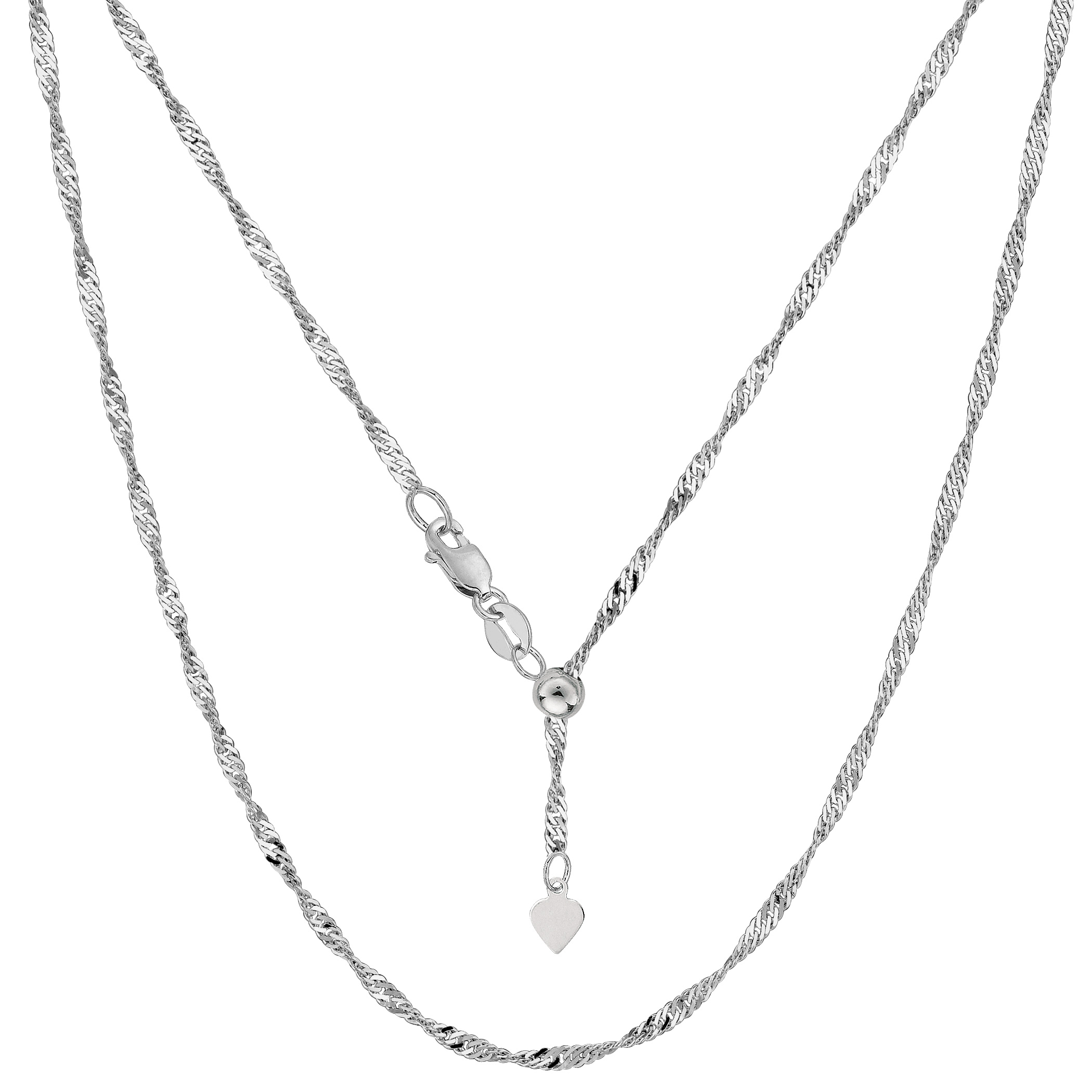 "JewelryAffairs 14k White Gold Adjustable Singapore Link Chain Necklace, 1.15mm, 22"" by JewelryAffairs"