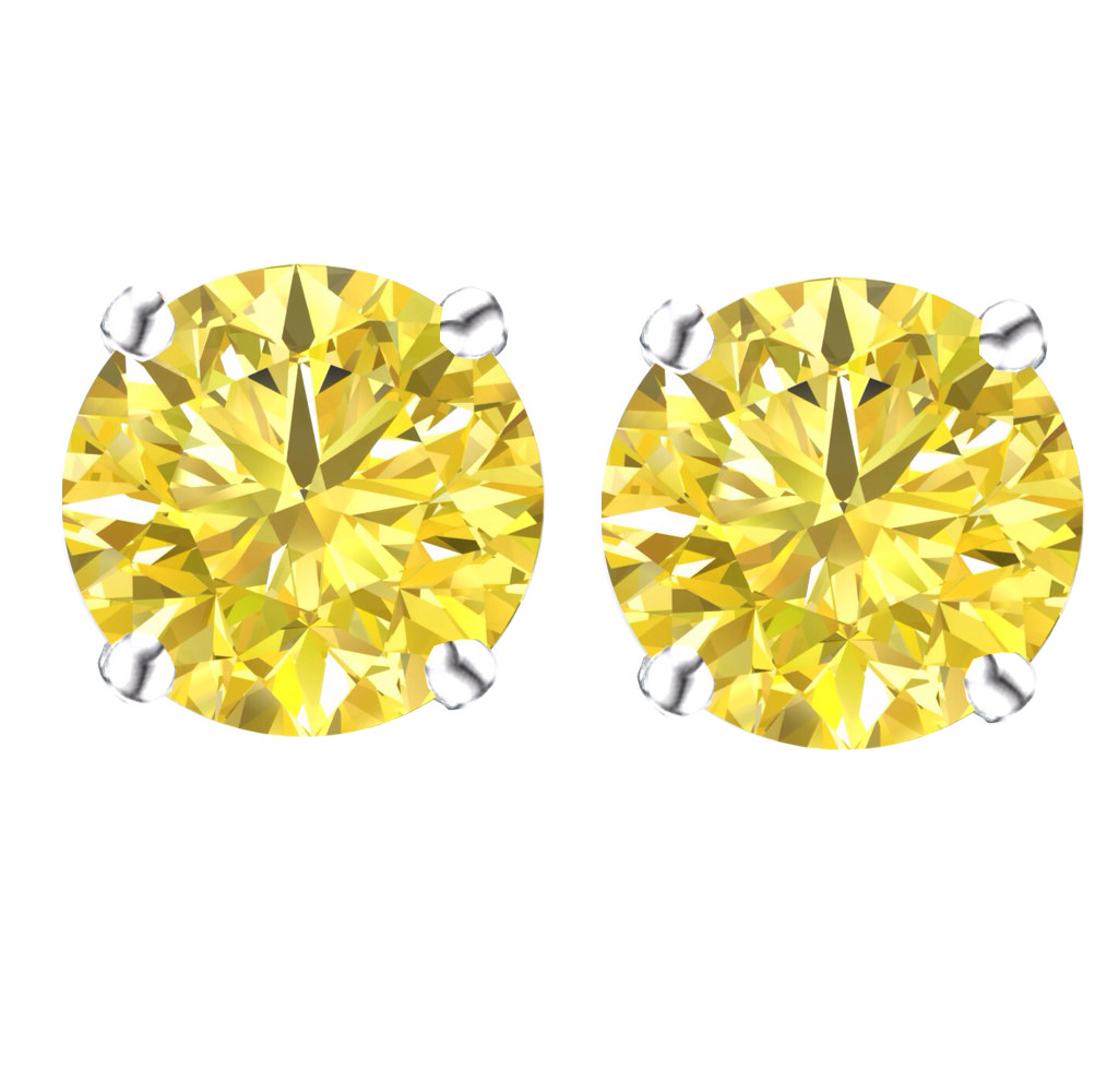 d71544de4 Gold Loves Silver - 14k Gold Post & Sterling Silver Round Cubic Zirconia  Simulated Canary Stud Earrings 1.50ctw - Walmart.com