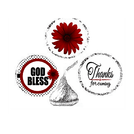 216ct Red God Bless Religious Baptism Communion Party Favor Hersheys Kisses Candy Decoration Stickers / Labels - Baptism Accessories
