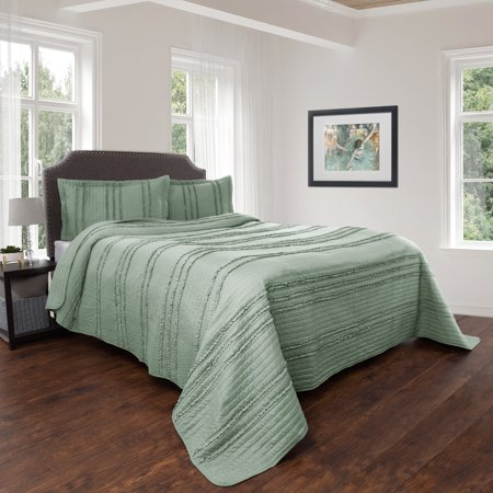 Quilt and Sham Set- Hypoallergenic 2 Piece Oversized Twin Quilt Bed Set with Striped Ruffle Design- Kadyn Series By Somerset Home (Green)