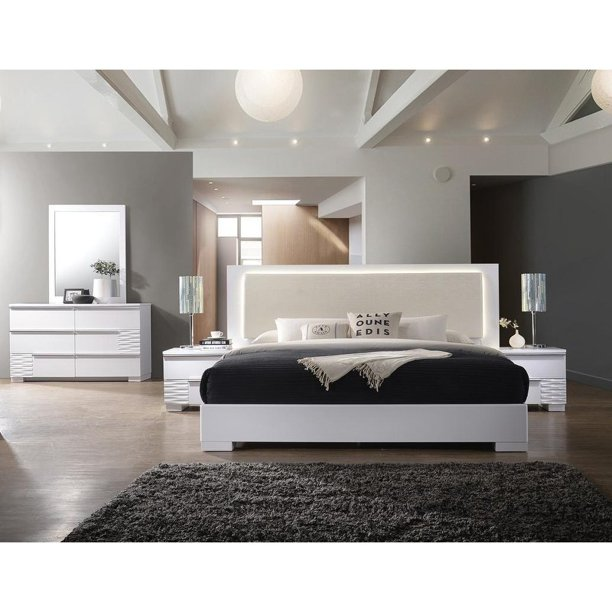 Best Master Furniture Athen White 5 Pcs Bedroom Set Cal King