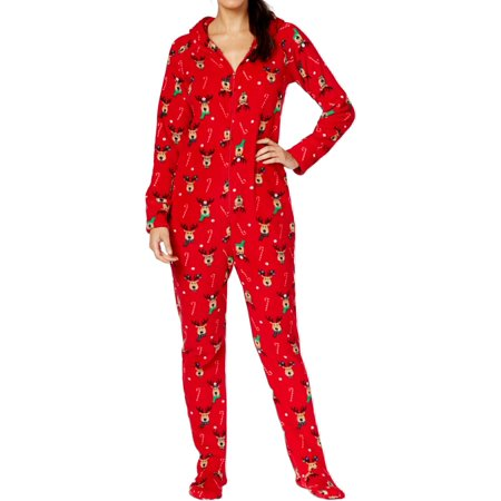 family pjs womens reindeer christmas holiday footed pajamas