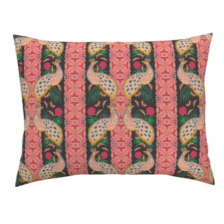 Deco Retro Style Garden Flower Bird Floral Brocade Pillow Sham by Roostery