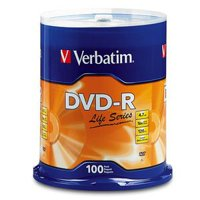 Verbatim Life Series DVD-R 4.7GB 16x Recordable Blank Disc 100 Pack Spindle
