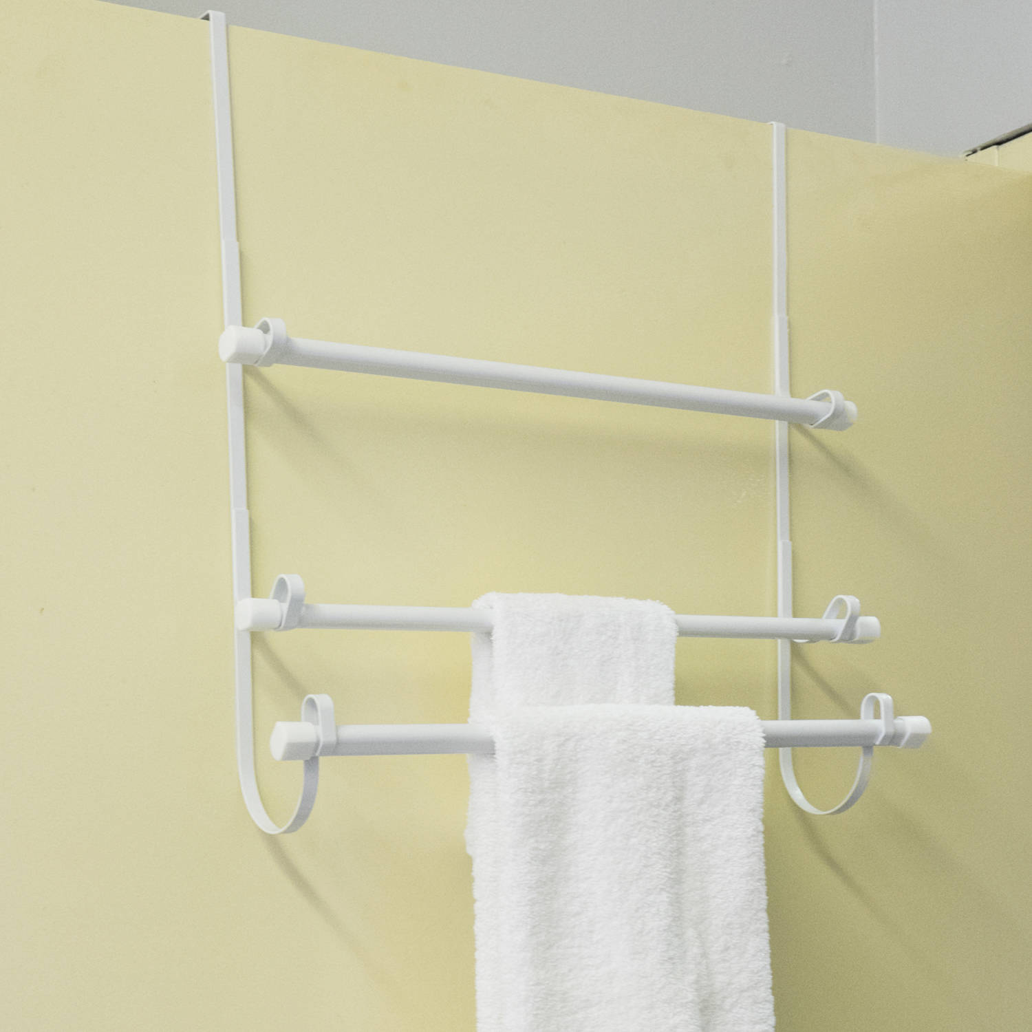 Superieur Epoxy Steel Over The Door Bathroom White Towel Hanger Organizer, 3 Bar Rack