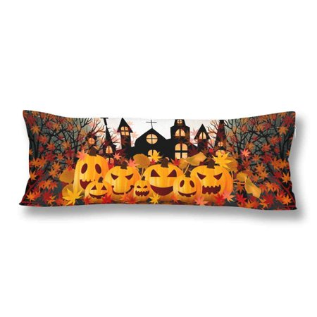 ABPHOTO Halloween Pumpkin Autumn Maple Leaves Body Pillow Covers Case Pillowcase 20x60 inch Couch