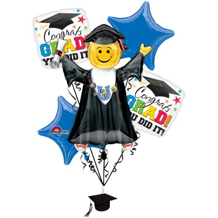 Anagram Bright Grad You Did It Graduation Bouquet 5pc Balloon Pack - Thank You Balloon