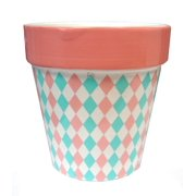 "4"" Capri Boulevard Earthenware Pastel Pink & Green Diamond Motif Outdoor Garden Patio Mini Planter"