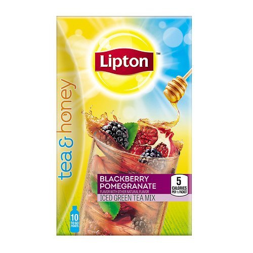 Lipton Tea & Honey To-Go Packets, Blackberry Pomegranate Iced Green Tea 10 ea (Pack of 2)