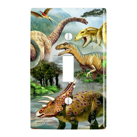 Light Switch Cover Wall Decor - Dinosaur Jurassic Dinoscape Plastic Wall Decor Toggle Light Switch Plate Cover