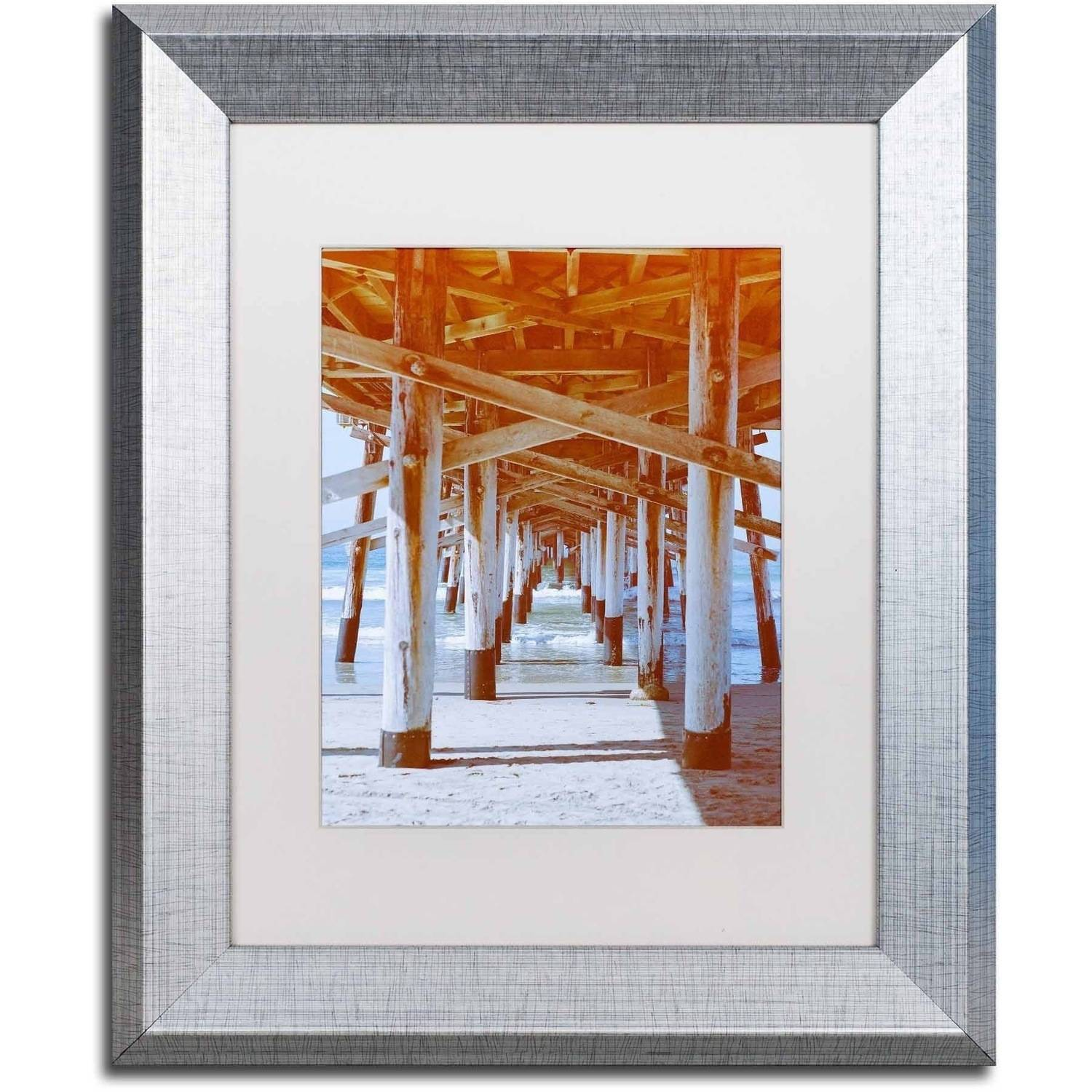 Trademark Fine Art 'Under Pier 2' Canvas Art by Ariane Moshayedi, White Matte, Silver Frame