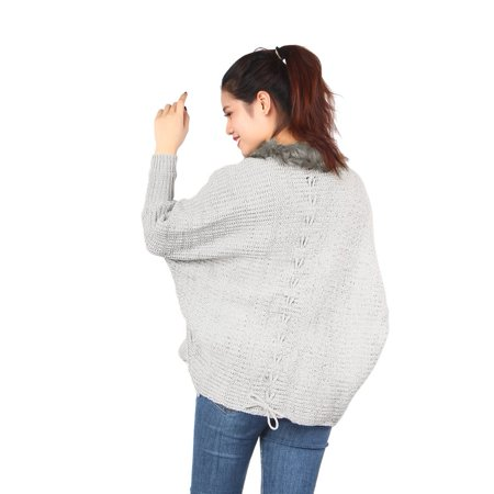 Shawl Collar Wrap Cardigan (Fashion Sweater Shawls Big Wraps Women Bat Sleeve Knit Cardigan Cape Fur Shawl Collar Sweater Coat)