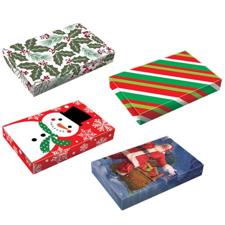 Small Whimsical Christmas Gift Boxes 4 Pack