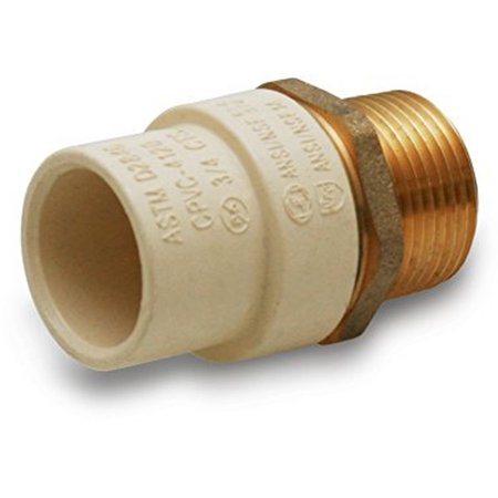 """Everflow Supplies BRCPM012-NL 1/2"""" Lead Free Adapter Fitting with a Brass Male and a CPVC Connect"""