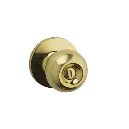Kwikset SK3000RG-3 Safe Lock Regina Privacy Round Corner Adjustable Latch, Strike Door Lock, Polished Brass ()