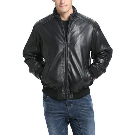 BGSD Men's Black Lambskin Leather Bomber Jacket (Regular & Tall sizes)