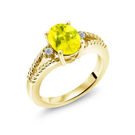 18k Citrine Ring (2.05 Ct Canary Mystic Topaz White Diamond 18K Yellow Gold Plated Silver)