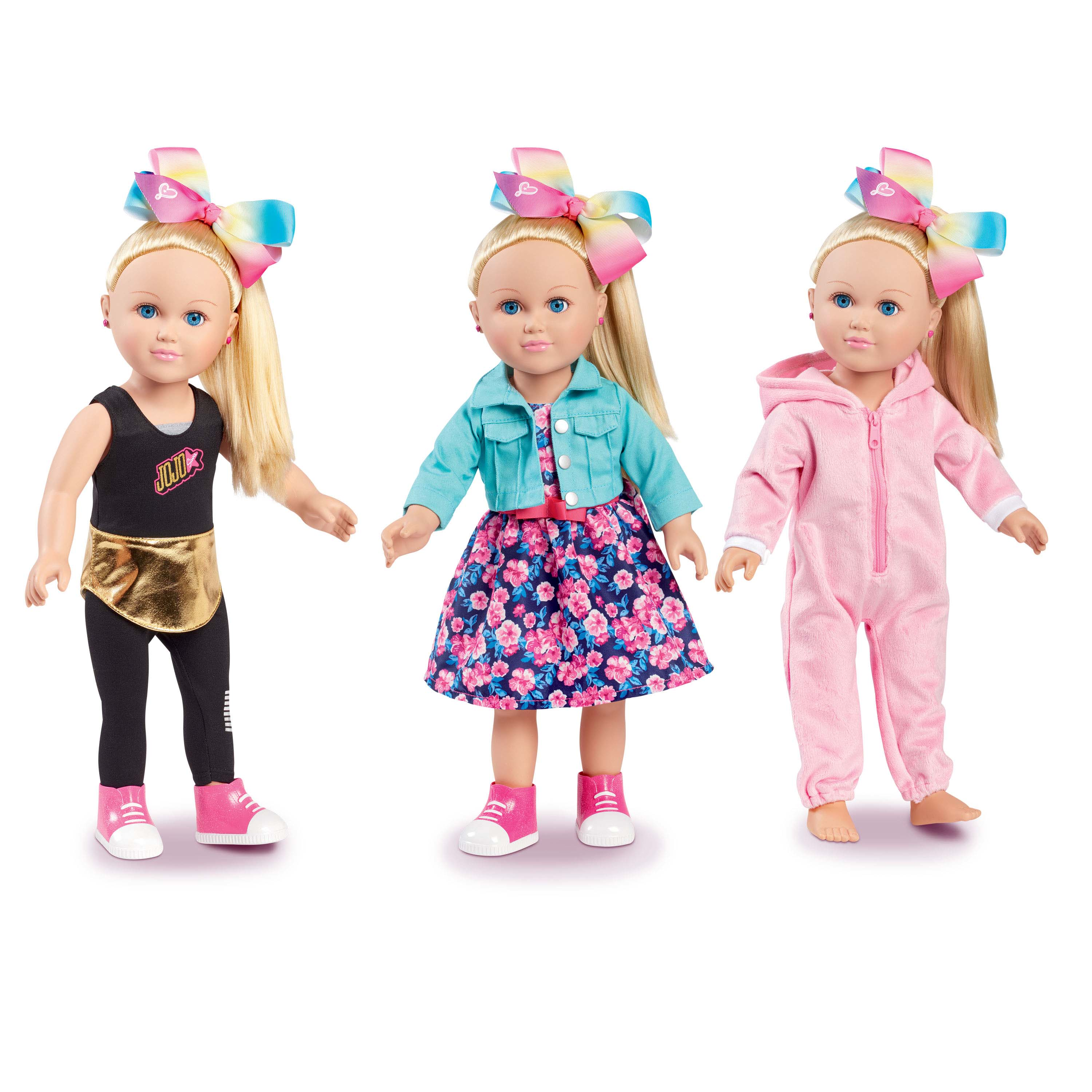 "JoJo Siwa My Life Poseable Doll 18/"" AND JoJo 9-Piece OUTFIT DOLL Clothes  SET"