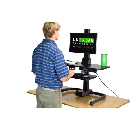 Vesa Keyboard Tray - Electric Standing Desk Conversion: powered adjustable height ergonomic sit to stand up desk converter keyboard tray, VESA Mount desktop computer riser