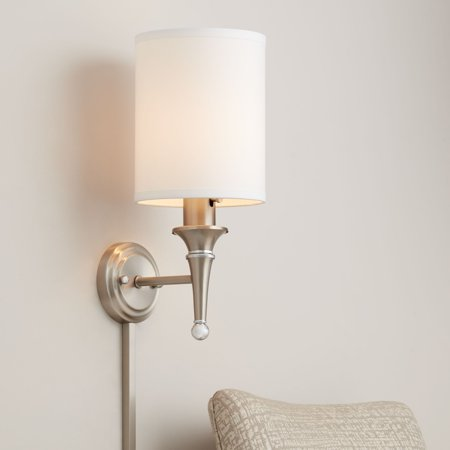 Nickel Double Wall Sconce (Possini Euro Design Braidy Brushed Nickel Plug-In Wall Sconce )