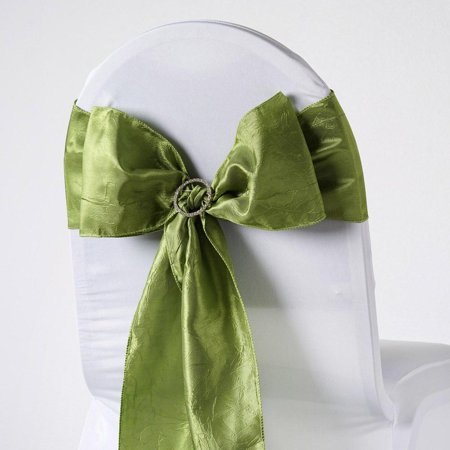 5pcs Sage Green Taffeta Crinkle Chair Sashes Tie Bows Catering - -