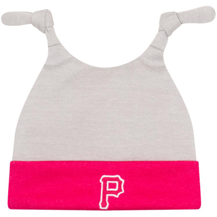 Pittsburgh Pirates New Era Newborn Shadow Tot Dub Cuffed Knit Hat - Gray/Pink - OSFA