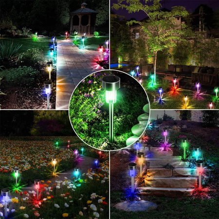 10pcs Solar Garden Lights/Path Lights Steel Led Pathway Landscape Lighting for Patio, (70 Yard Lights)