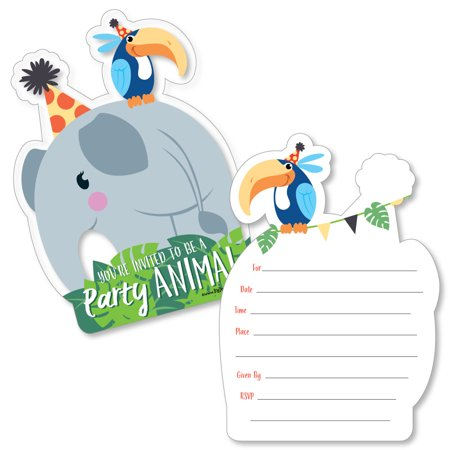 Jungle Party Animals - Shaped Fill-In Invitations - Safari Zoo Animal Birthday Party or Baby Shower Invitations - 12 - Animal Birthday Party