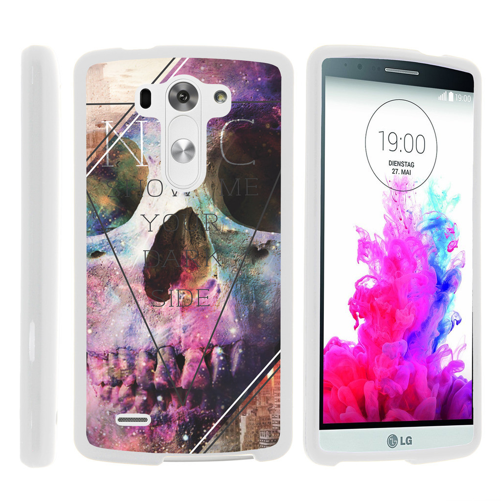 LG G3 D850, LS990, VS985, [SNAP SHELL][White] 2 Piece Snap On Rubberized Hard White Plastic Cell Phone Case with Exclusive Art - Your Dark Side