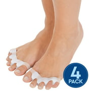 Toe Separators, Straighteners & Spacers, Corrects Toes And Bunion (Universal Size) - White (Two Pairs) 4 Pieces