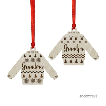 Funny Laser Engraved Wood Christmas Ornament with Gift Bag, Ugly Sweater Grandma Grandpa, Sweater Shape, 2-Pack