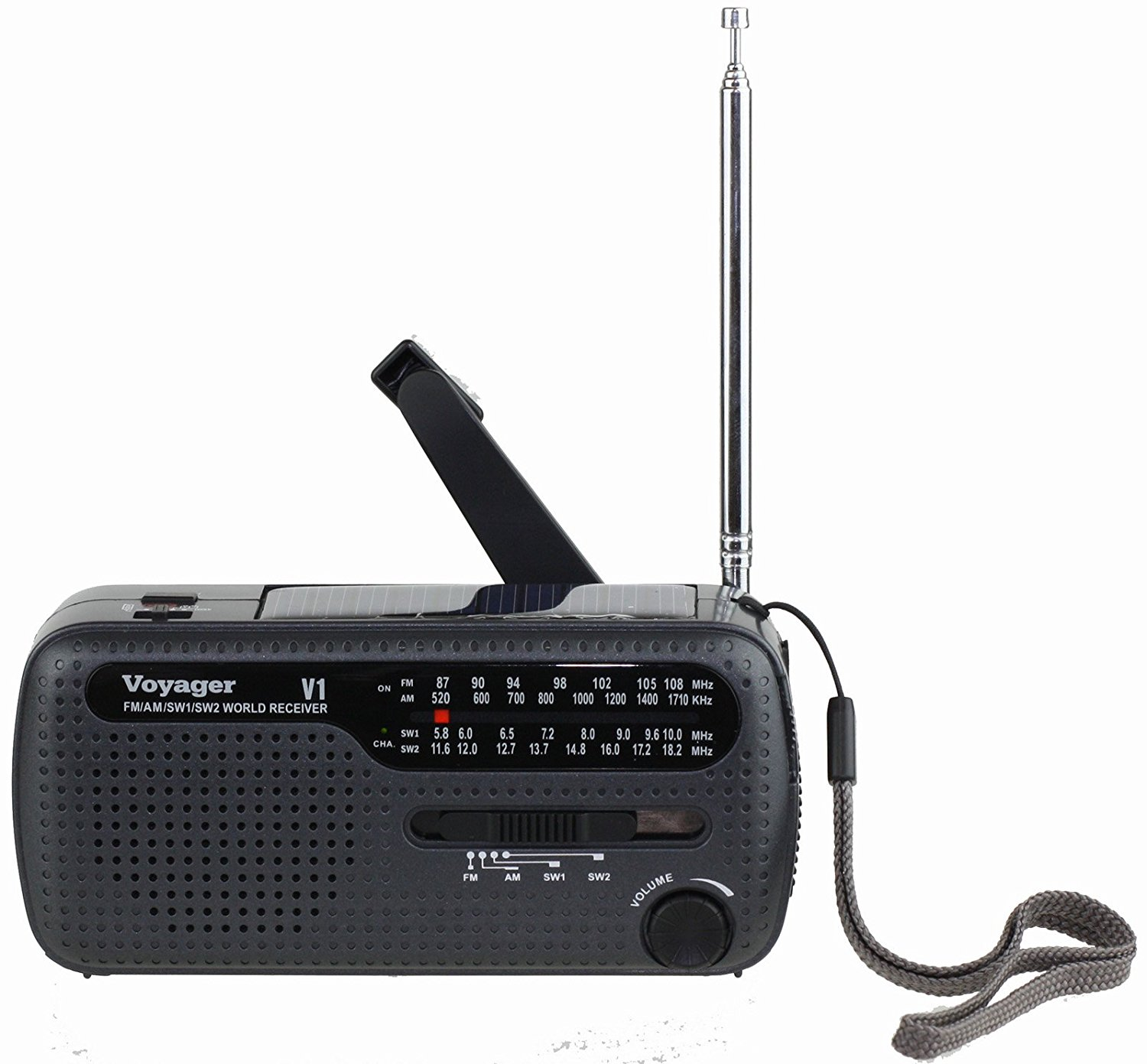 Kaito V1R Voyager Solar Dynamo AM FM SW Emergency Radio with Cell Phone Charger and 3-LED Flashlight Black by Kaito