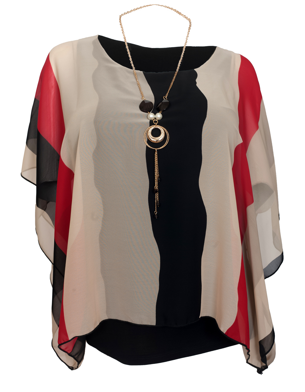 eVogues Women's Layered Square Poncho Top Red Stripe Print 1792 by eVogues Apparel