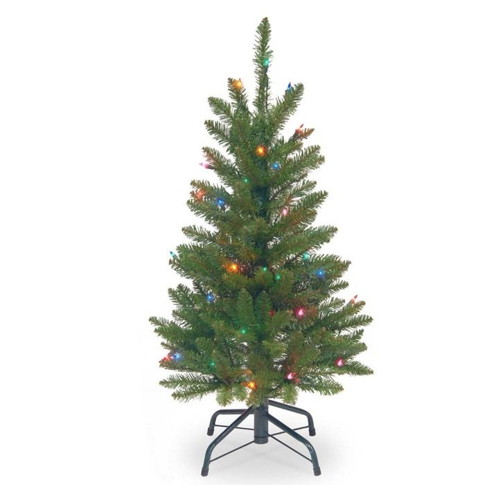 National Tree Pre-Lit 3' Kingswood Fir Wrapped Pencil Artificial Christmas Tree with 50 Multi Lights