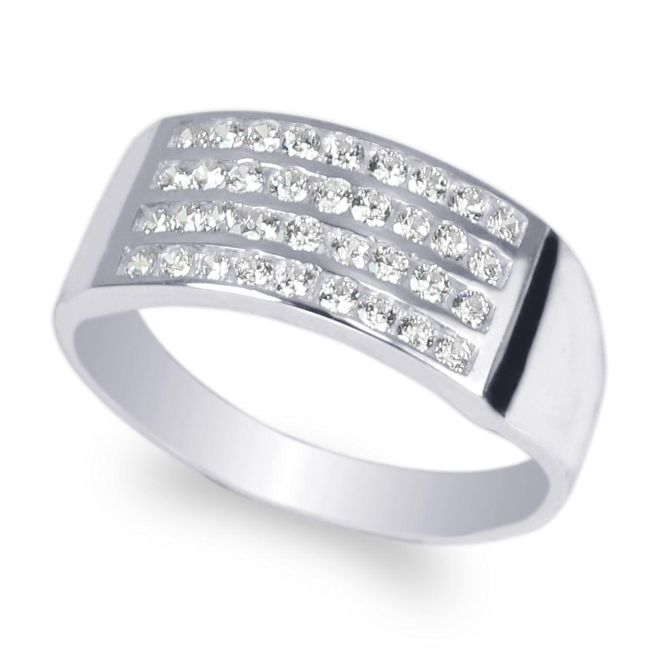 JamesJenny Mens 10K White Gold Double Row Channel Band Ring Size 7-12