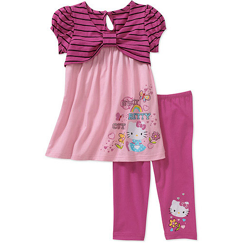 Hello Kitty - Baby Girls' 2-Piece Striped Tunic and Legging Set