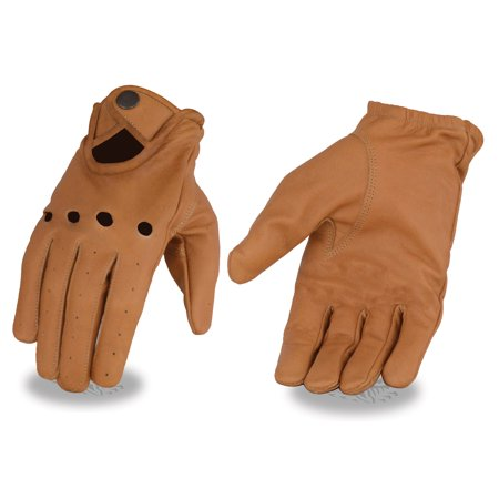Milwaukee Leather Men?s Saddle Tan Leather Driving Gloves with Wrist Snap Tan Motorcycle Gloves