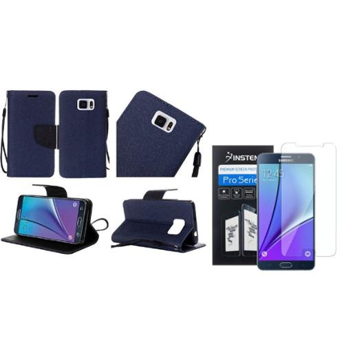 Insten Leather Case Lanyard w/stand For Samsung Galaxy Note 5 - Blue/Black (+Free Screen Protector)