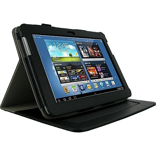 rooCASE Samsung GALAXY Note 10.1 N8000 Tablet: Dual-Axis Leather Case w/ Stylus