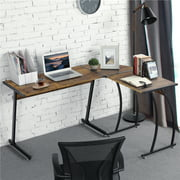 Yaheetech 58 inch Rustic Brown L-Shape Corner Computer Desk, Multipurpose Wood Writing Studying Table with Round Corner, Large PC Laptop Workstation Table, 3-Piece Modern Desk, Home Office Furniture