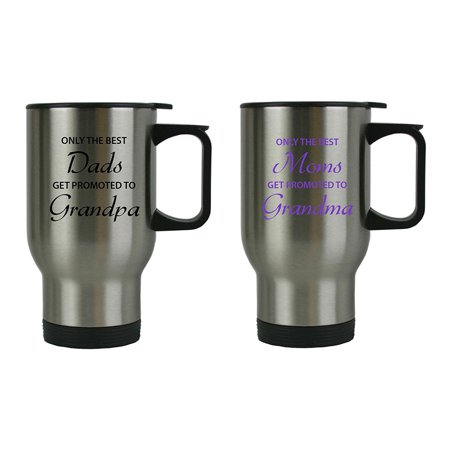 Only the Best Dads/Moms Get Promoted to Grandparents 14 oz Travel Coffee Mugs