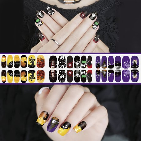 Pixnor Halloween Luminous Nail Sticker Nail Art Decals Full Wrap Stickers Set