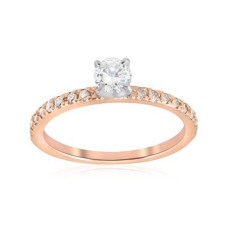 1/2ct Diamond Engagement Ring 14K Rose Gold Round Brilliant Solitaire Jewelry