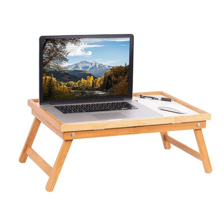 Zimtown Wood Breakfast Bed Tray Lap Desk Serving Table Foldable Legs Bamboo Food Dinner