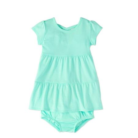 0d30d3fd7b38 Baby Girl Criss-Cross Back Tiered Knit Dress - Walmart.com