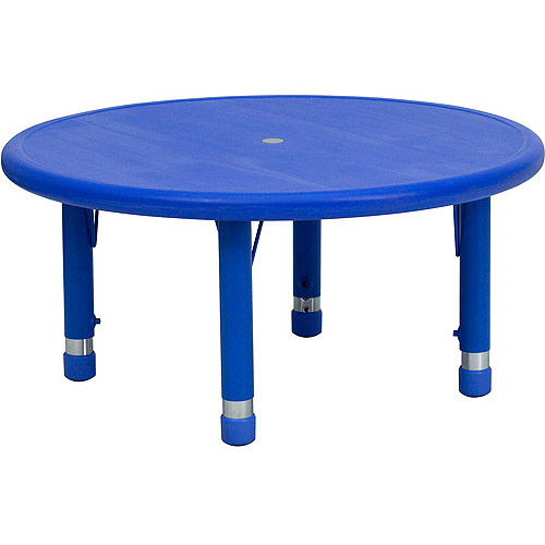 """Adjustable Height Round Plastic Activity Table 33"""", Blue"""