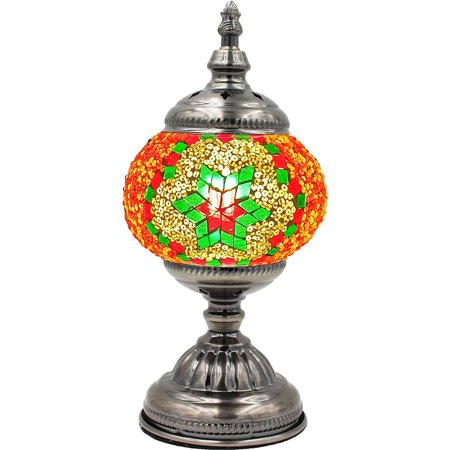 Silver Fever Handcrafted Mosaic Turkish Lamp -Moroccan Glass - Table Desk Bedside Light- Bronze Base (Christmas Color Snow Flakes) Moroccan Hanging Lamp